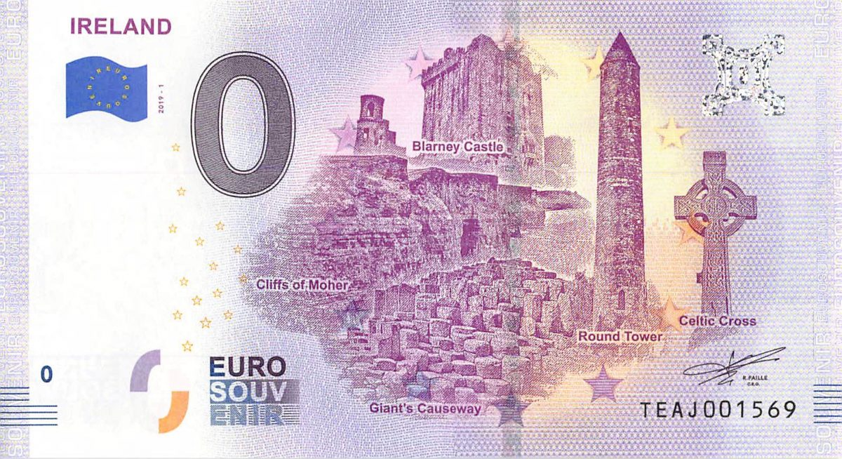 Commemorative 0 Euro Limited Edition Souvenir Banknote of Top Sites in IRELAND