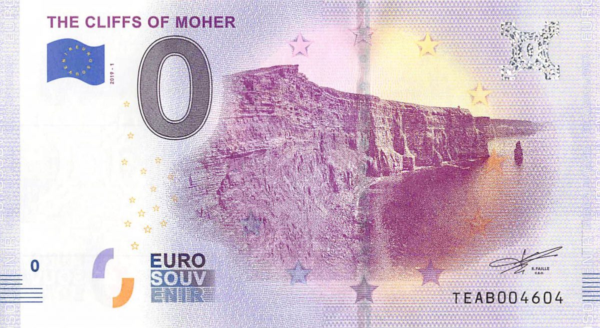 Commemorative 0 Euro Souvenir Banknote of the Cliffs of Moher - LIMITED EDITION