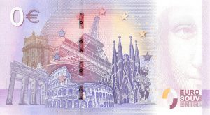 Back side of Commemorative 0 Euro Banknote