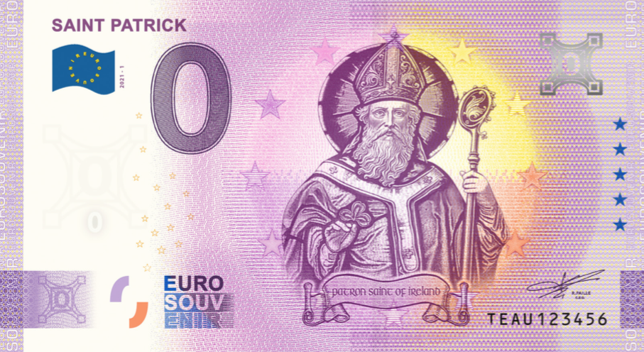 Commemorative 0 Euro Banknote of Saint Patrick - Very Limited Quantities!