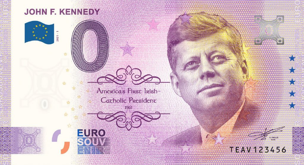 Irish 0 Euro Note Commemorating the 60th Anniversary of JFK's Inauguration